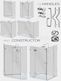 Angled glass shower cabins designer and handle set