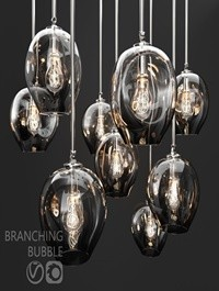Branching bubble 1 lamp by Lindsey Adelman DARK-SILVER