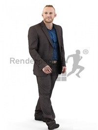 Man in a Suit Walking Scanned 3d model