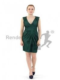 Woman in Dress Walking Scanned 3d model