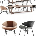 Modern dining table and chair model combination 1