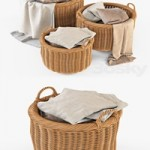 Basket with linen 007 Natural color