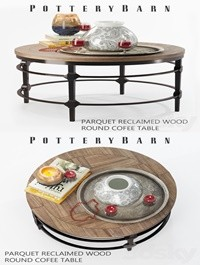 Parquet reclaimed wood round coffee table with decor
