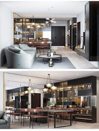 Interior Living Kitchenroom Scene Sketchup BY Qht Decor