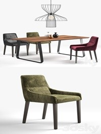 Ligne Roset: long island chair, vilna table, parachute lamp