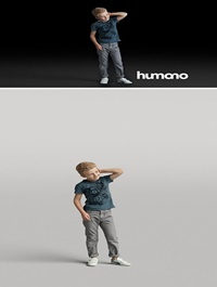 Humano Standing boy with hand behind his head 0505 3D model