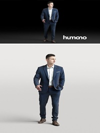 Humano Elegant business man in a suit walking 0102 3D model