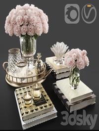 Rose and crystal vase decoration set 11