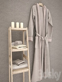 Bathrobe towels on shelf