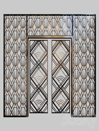 Wrought iron grille at the front door