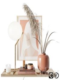 Decorative set with pampas grass