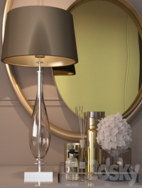 Decorative set in gold for the dressing table