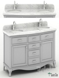 "60 ""Double sink wooden vanity with Carrara marble top"