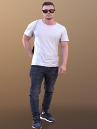 Rick 10497 Walking Casual Guy VR AR low-poly