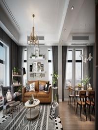 Nordic Living room & dining room Interior Scene