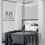 RH 19TH WITH FRENCH IRON CANOPY BED
