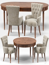 Gustavian Extension Table and Toulouse French Armchair