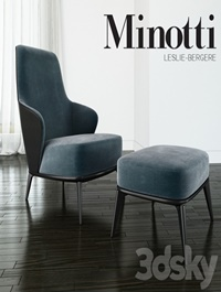 Minotti Leslie long backrest armchair ottoman leather