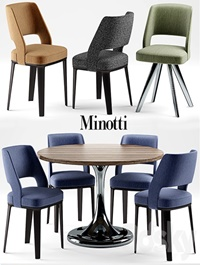 Table and chairs minotti NETO table OWENS CHAIR