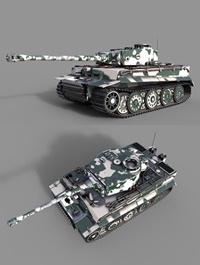 Tiger 1 Tank ww2 German Army 3D model