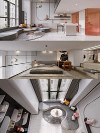 Modern apartment living room bedroom