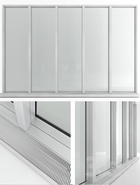 Panoramic window in the floor with radiator