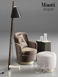 Minotti Jacques Armchair and Pouf