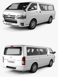 Toyota Hiace LWB Combi with HQ interior 2013 3D model