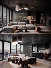 Interior Kitchen Livingroom Scene By Mai