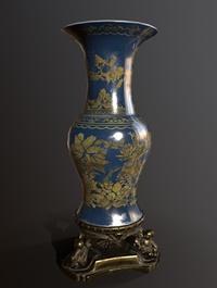 Floor Vase with Bronze Stand
