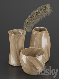 WOOD VASE AND DRY PLANT