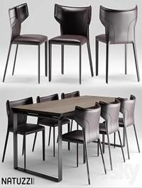Table and chairs natuzzi Pi Greco Omega