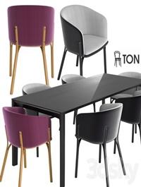 Ton armchair split table trapez