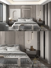 Modern bedroom with double bed