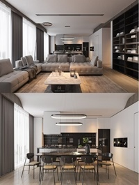 Kitchen Livingroom Scene By Tran Nghia