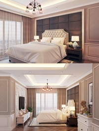 Modern Bedroom Interior Scene 45