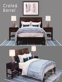 Bed Crate Barrel Dawson Clove Queen Sleigh Bed