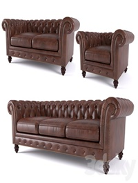 Brooklyn Chesterfield Leather Sofa and Loveseat and Armchair