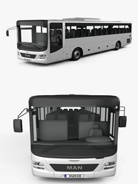 MAN Lion's Intercity Bus with HQ interior 2015 3D model