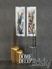 Dome Deco decor set, a table with vases and paintings