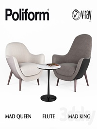 Armchairs Poliform MAD Queen and MAD King