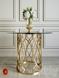 Salon Dining Table with Glass Top Bernhardt Flowers