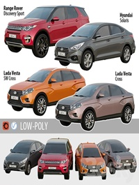 Set of Low Poly Cars 3d models