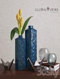 Global Views Bezel Vase-Ink Large