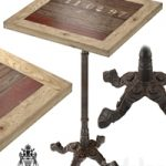 CAST IRON AND LARCH RESTAURANT TABLE SQUARE