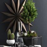 Decor set with pine tree