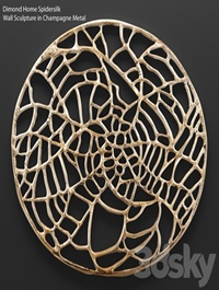 Spidersilk Wall Sculpture in Champagne Metal
