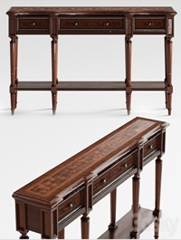 Hooker Furniture Living Room Grandover Three Drawer Console Table