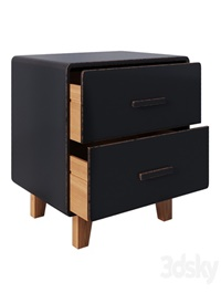 Juniper 2 Drawer Nightstand Black