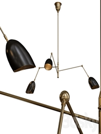 Sommerard Medium Triple-Arm Chandelier Hand-Rubbed Antique Brass